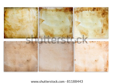 vintage old paper pages set - stock photo