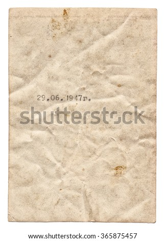 Vintage old paper texture with date isolated on white background - stock photo