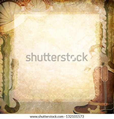 Vintage old paper with western pattern - stock photo
