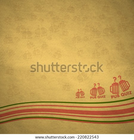 vintage old pub quiz symbol background with bended lines on old paper background - stock photo