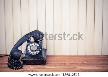 Vintage old telephone - stock photo