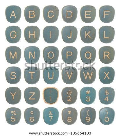 Vintage old typewriter keys alphabet letters set - stock photo