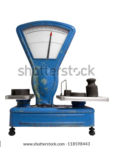 Vintage old weight scale. Clipping path included. - stock photo