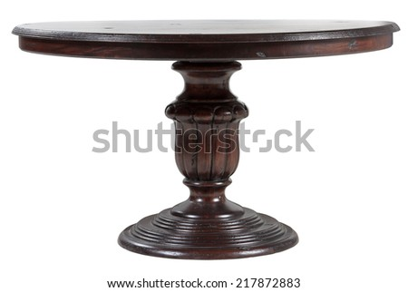Vintage old wooden round table - stock photo