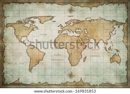 vintage old world map background - stock photo
