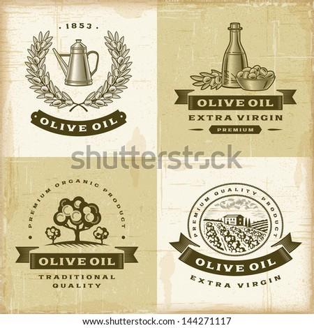 Vintage olive oil labels set - stock photo