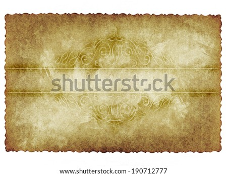 Vintage onceptual old retro aged paper texture isolated on white background. Abstract damaged parchment  a banner for grunge, ornament, book, letter, time, history designs  - stock photo