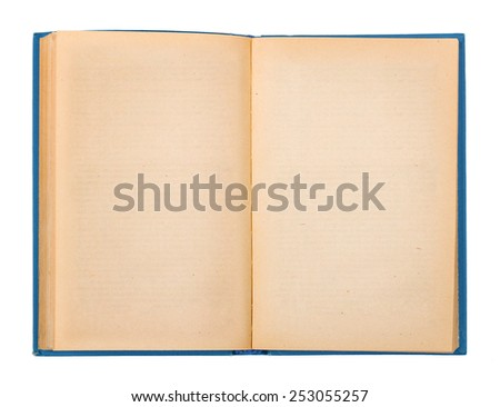 Vintage open book with a blue cover on a white background - stock photo