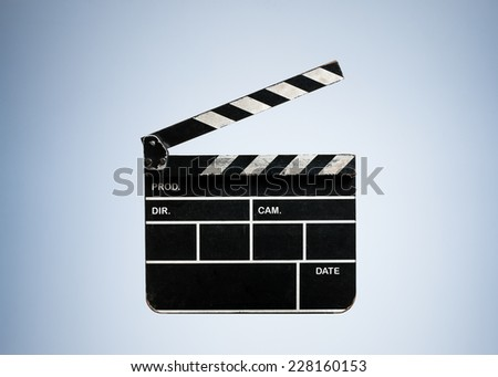 Vintage Opened Clapperboard Cinema isolated on Blue Studio Background with Text Space - stock photo