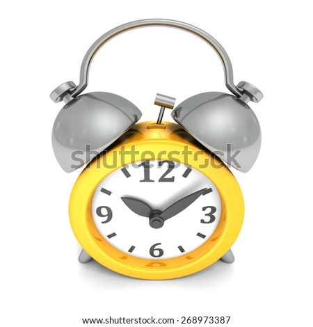 Vintage Orange Alarm Clock Face View. 3d Render Illustration - stock photo