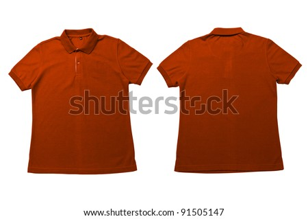 Vintage Orange color Polo Shirt with white background Men Front and back Polo Shirt - stock photo