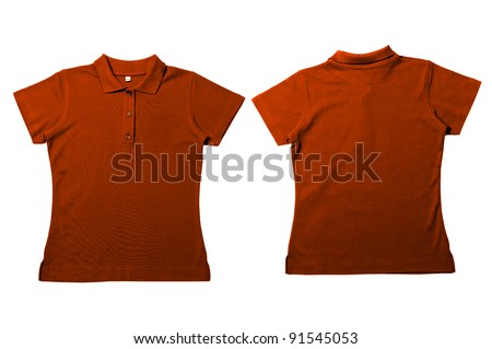 Vintage  Orange Female color Polo Shirt with white background Men Front and back Polo Shirt - stock photo