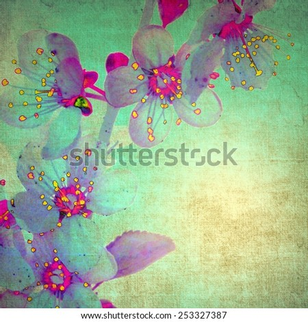 Vintage orchid on green background - stock photo