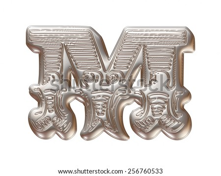 Vintage ornament Metal Letter M isolated on white background - stock photo