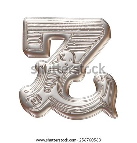 Vintage ornament Metal Letter Z isolated on white background - stock photo