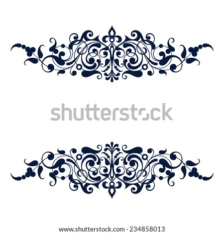 vintage ornate border frame filigree with retro ornament pattern in antique baroque style arabic decorative calligraphy design   - stock photo