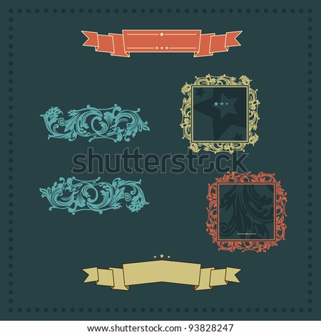vintage ornate decor elements. frames ornaments ribbons stars. Vector copy search in my portfolio - stock photo