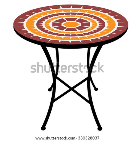 Vintage, outdoor round table raster isolated, cafeteria table - stock photo