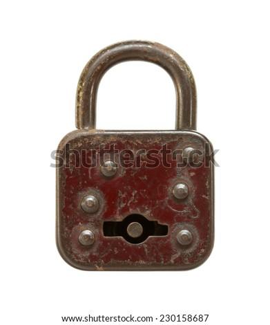 Vintage padlock (locked) isolated on white background - stock photo
