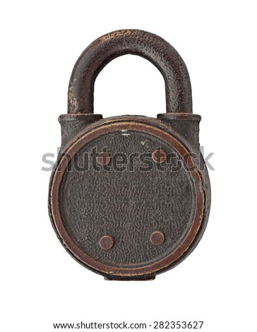 vintage padlock over white background, clipping path, space for your name - stock photo