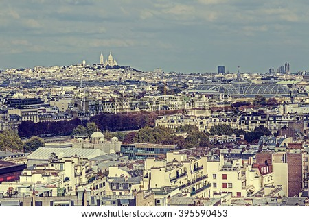 Vintage panorama and aerial view from Eiffel tower in Paris, France - stock photo