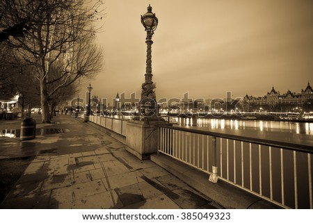 Vintage Panorama of London with Big Ben in the background before the sunrise in London,England - stock photo