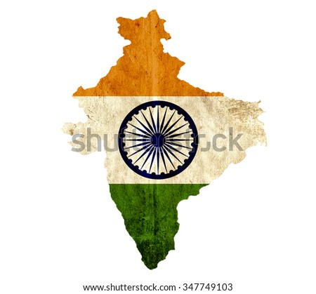 Vintage paper map of India - stock photo