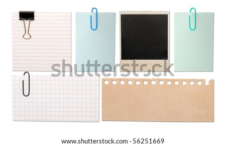 vintage paper notes isolated on white background - stock photo