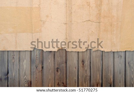 vintage paper over wood  background - stock photo