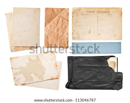 Vintage paper set, isolated on white - stock photo