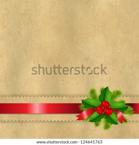 Vintage Paper With Divider And Holly Berry - stock photo