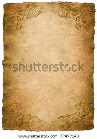 vintage paper with elegant decor elements - stock photo
