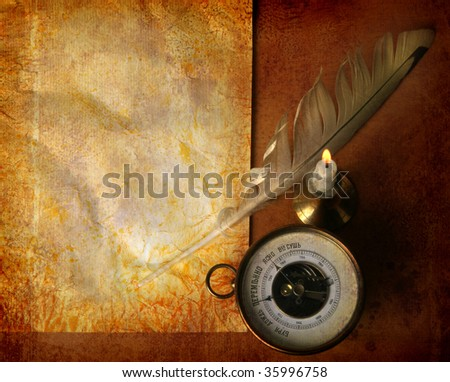 Vintage paper with quill pen, a candle and a barometer - stock photo