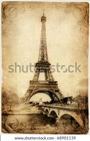 vintage Parisian cards series -Eiffel tower - stock photo