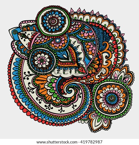 Vintage pattern based on traditional Asian elements Paisley. Orange , blue, pink . - stock photo
