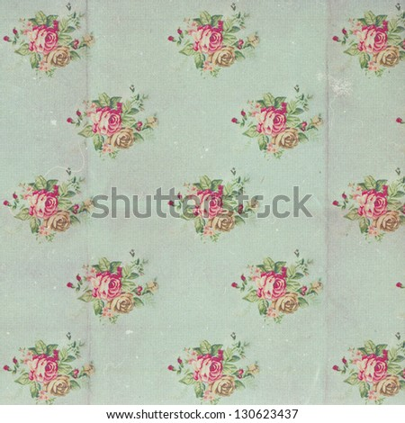 vintage pattern with blue flowers, retro - stock photo