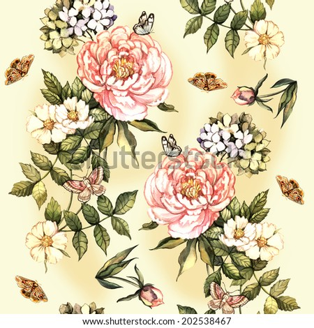 Vintage pattern with watercolor flowers. Hand painting.  Seamless pattern for fabric, paper and other printing and web projects. - stock photo