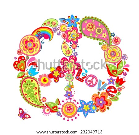 Vintage peace flower symbol with paisley. Raster copy - stock photo