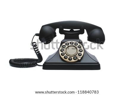 Vintage phone isolated on white background. - stock photo