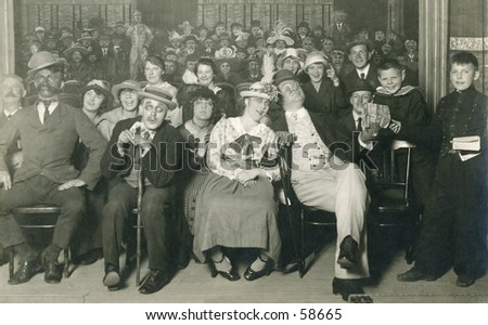 Vintage photo, circa 1900 of an audience attending a theatrical performance - stock photo