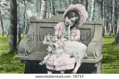 Vintage photo, circa 1900, of Little Bo Peep holding a lamb - stock photo