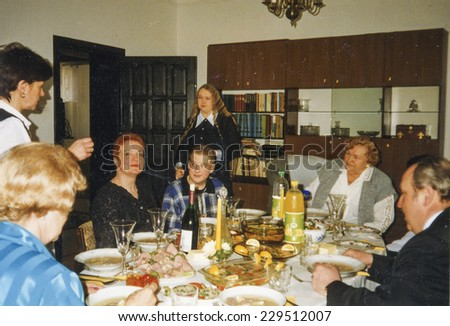 Vintage photo - family party, eighties - stock photo