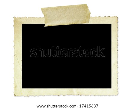 Vintage photo frame, with scalloped edge and masking tape, isolated on white. - stock photo