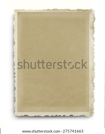 Vintage photo frame with scalloped edges, isolated on white with soft shadow. - stock photo