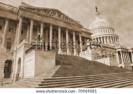 Vintage photo imitation of Washington DC architectural details - stock photo