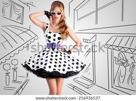 Vintage photo of a beautiful pin-up girl wearing a retro polka-dot dress and sunglasses on sketchy background of a shopping street. - stock photo