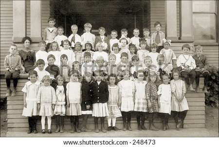 Vintage Photo of a Elementary School Class Portrait - stock photo
