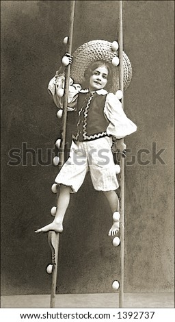 Vintage photo of a Girl Performing On Stilts - stock photo