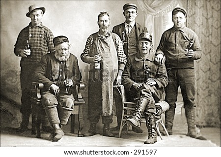 Vintage photo of a Group Of Lumberjacks - stock photo