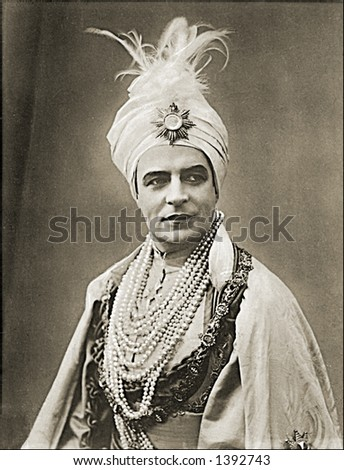 Vintage photo of a Man In A Sultan Outfit - stock photo